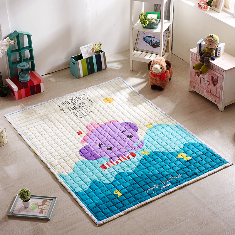 Infant Shining 200x150CM Cartoon Baby Play Mats 100% Cotton Carpet Children Living Room Machine Washable Rug Bedroom Blanket