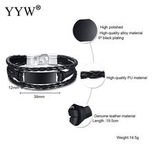 Wholesale Price Classic Genuine Leather Bracelet For Men Hand Charm Jewelry Multilayer Magnet Handmade Gift Cool Boys