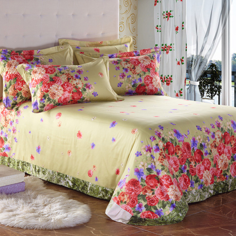vintage country style colorful floral print bedding set queen size king size quilt cover bed sheets pure cotton fabric textilesin bedding sets from home