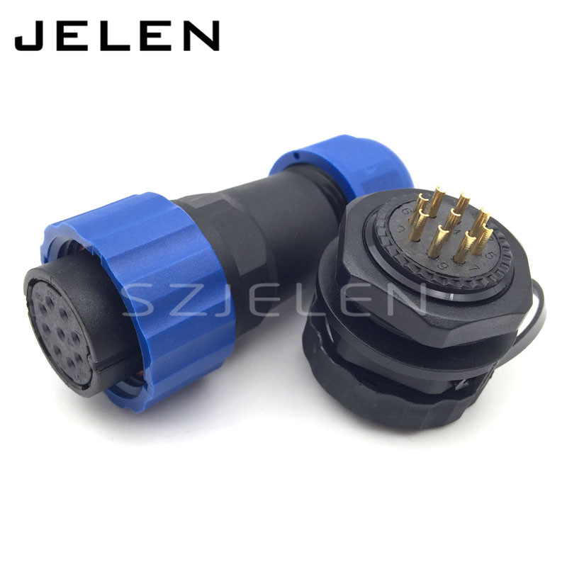 SD20TP-ZM, IP68, Screw Fixing waterproof connector 9 pin female plug and socket Male, LED display panel mount connector 9pins waterproof aviation plug socket sd20 20mm 3 pin panel mount connector elbow ip68