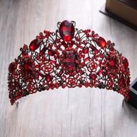 Baroque Red Crystal Crown Wedding Head Tiaras Bridal Hair Accessories Vintage Gold Crowns Beauty Bride Hair