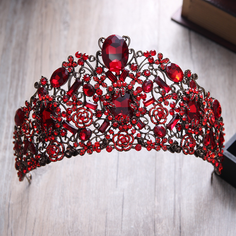 Baroque Red Crystal Crown Wedding Head Tiaras Bridal Hair Accessories Vintage Gold Crowns Beauty Bride Hair Vine Women Headpiece 02 red gold bride wedding hair tiaras ancient chinese empress hair piece 02