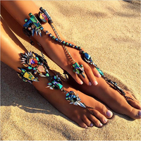 Statement Ankle Bracelet Wedding Barefoot Sandals Beach Foot Jewelry Sexy Leg Chain Female Boho Colorful Crystal