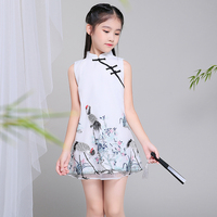 2017 autumn girls dress children clothing red flowers princess casual lace cheongsam nice lace tutu dress kid clothes