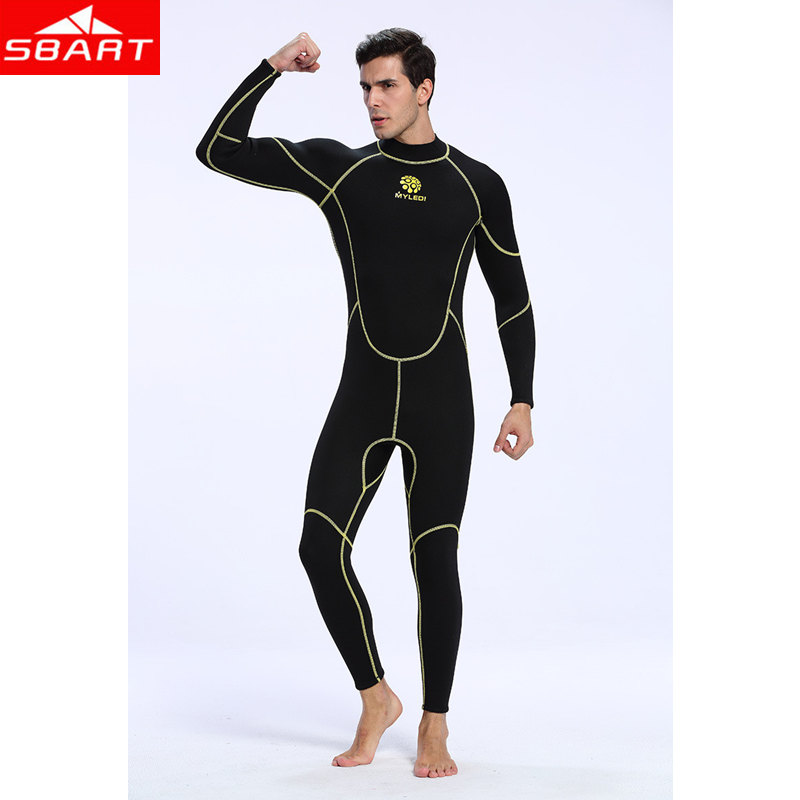 SBART Mens One-piece Surf Diving Wetsuits 3MM Neoprene Wetsuit for Winter Underwater Hunting Fishing Diving Wetsuits Equipment