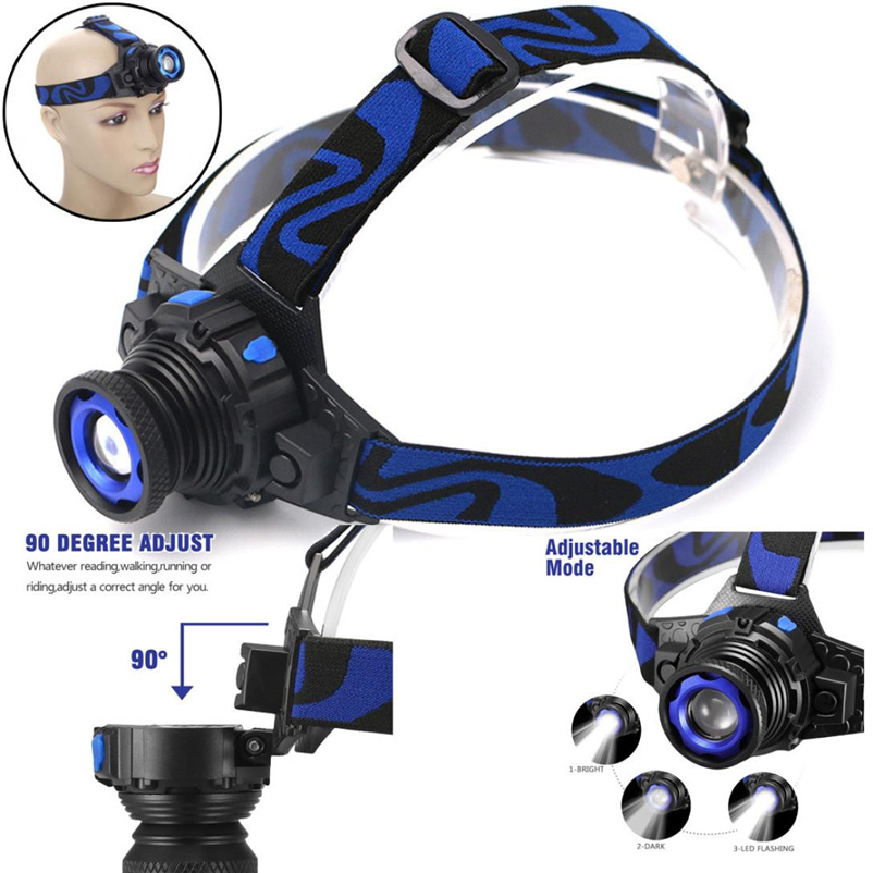 Hot 1000LM Led Headlamp Headlight Head Torch flashlight Head lamp by Recharger Built-in battery Bicycle Light #FS#4MY14