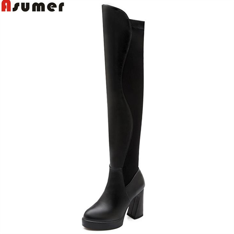 ASUMER Fashion elegant high square heels over the knee boots for women winter slip-on round toe pu platform boots high quality high quality women shoes fashion pointed toe nubuck leather boots over the knee slip on high thin heels long boots for women