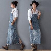 Fashion Maxi Denim Dress Summer Ladies Suspenders Holes Jeans Dresses Female Loose Plus Size Bib Blue Jeans Long Dress 8075