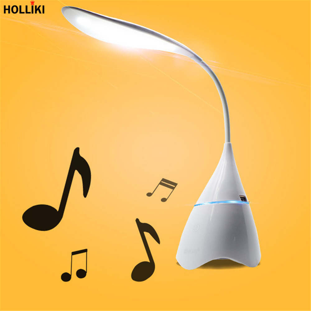 Bluetooth Music Speaker Desk lamp LED Support TF Card Night Light Rechargeable Adjustable Reading Desk Lamps Luminaria De Mesa white rotating rechargeable led talbe lamp usb micro charging eye protection night light dimmerable bedsides luminaria de mesa