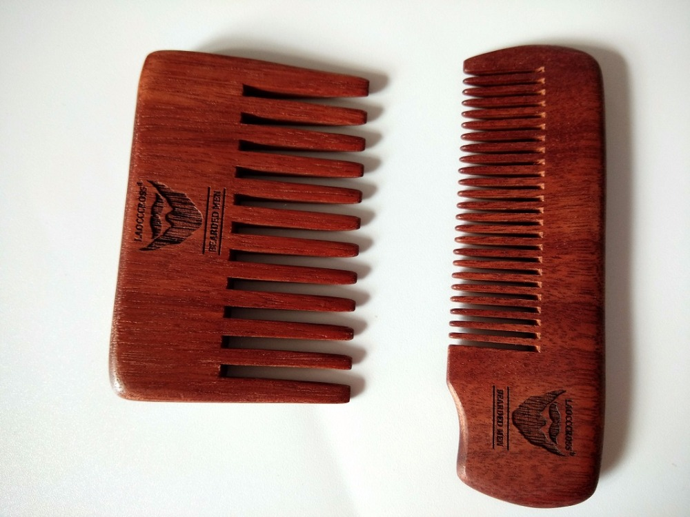 2PCS Handmade Red Comb Pocket Size Wide Teeth Beard Comb &Fine Tooth Comb Travel Size Customize Logo Wholesale Care Engrave Logo