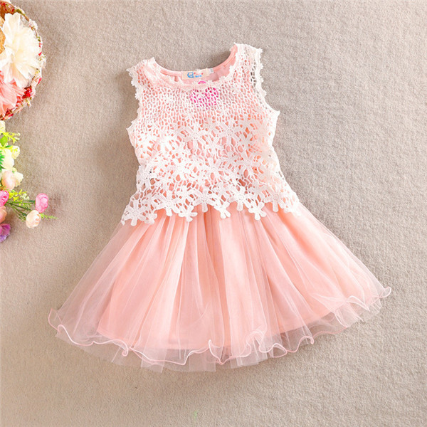Baby Girls Crochet Lace Tulle Dresses 2015 Kids Girl Summer Hallow