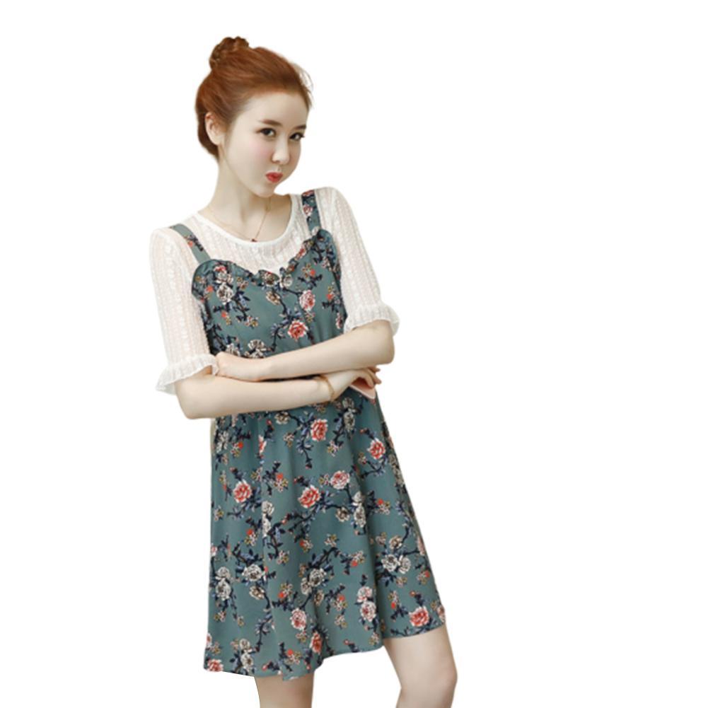 2Pcs Set Pregnant Women Summer Dress Suit Floral Lace Top Chiffon Harness Dress Set Korean Style Fashion Print in Dresses from Mother Kids