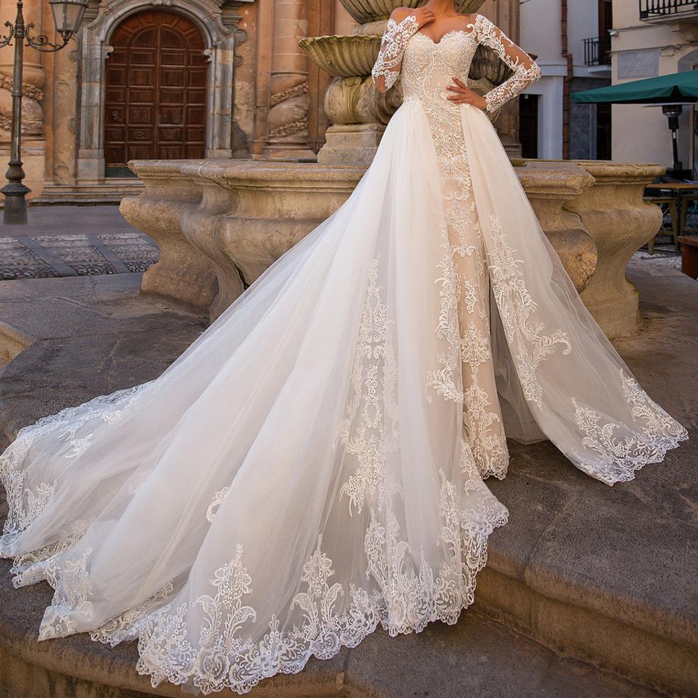 Mermaid Wedding Dresses With Detachable Train 2020 Illusion Neckline Long Sleeve Lace Wedding Dress Bridal Gowns