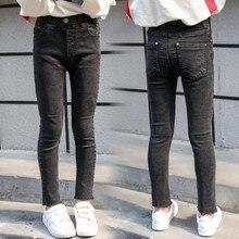 DFXD 2019 Spring Big Girls Jeans Pants New Fashion Long High Waist Skinny Children Clothing Kids Elastic Trousers 4-13Yrs