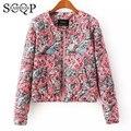Novo 2015 em Estilo Europeu Floral Impresso Jaquetas Senhoras Primavera Mulheres Casacos E Jaquetas de Inverno do Revestimento das Mulheres de Algodão de Manga Longa 6332