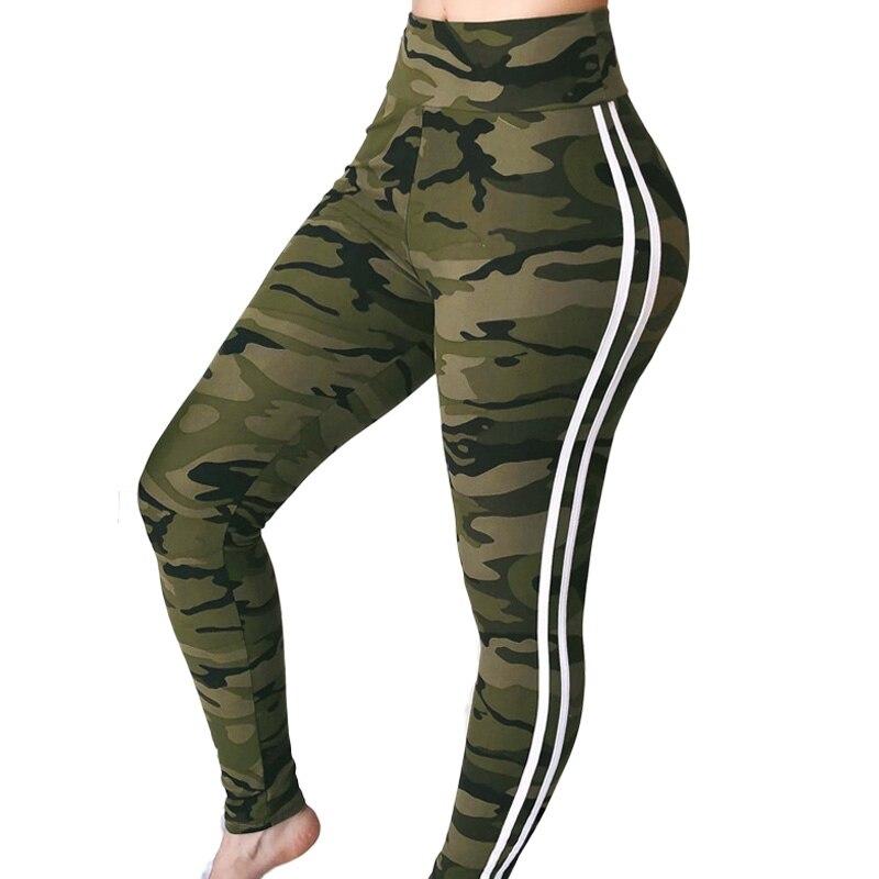 New Fashion Trousers Women Side Stripe Pants High Waist Printed Pencil Pants Women Fitness Leggings Skinny Pantalon Femme