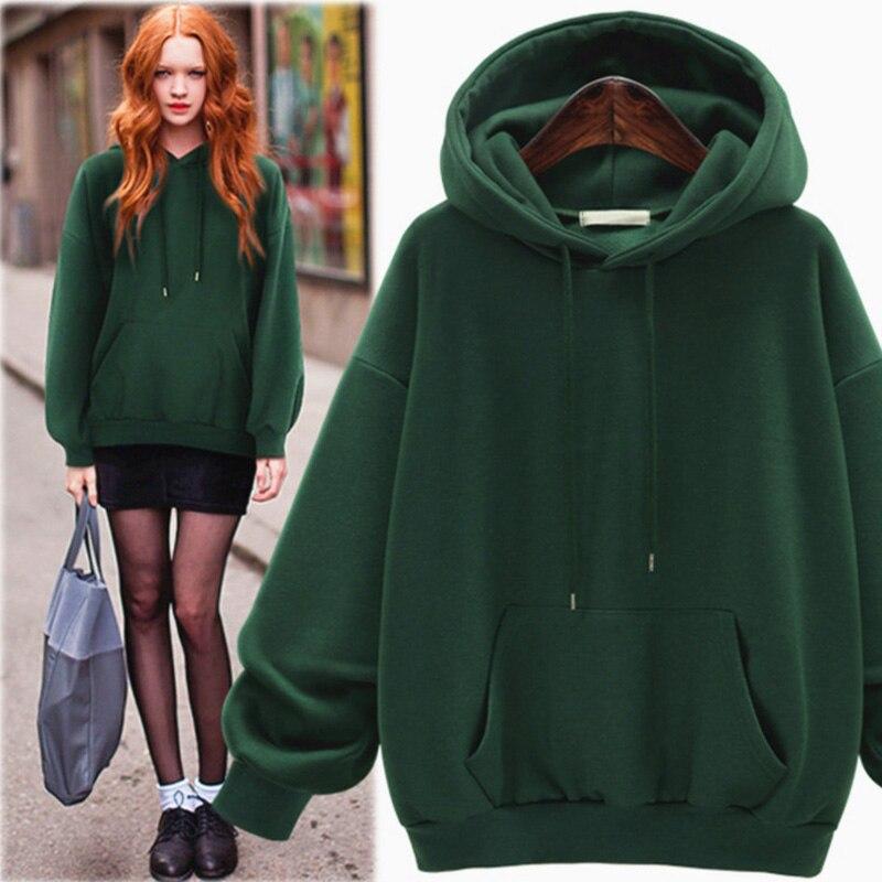 Green Hoodies Sweatshirt Women Kpop Winter Autumn 2017