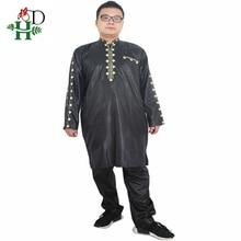 H & D ชุดแอฟริกันสำหรับผู้ชาย Dashiki Mens เสื้อผ้าแอฟริกัน Bazin ชุดชายเสื้อกางเกงชุด 2 PCS แขนเสื้อ PLUS ขนาด