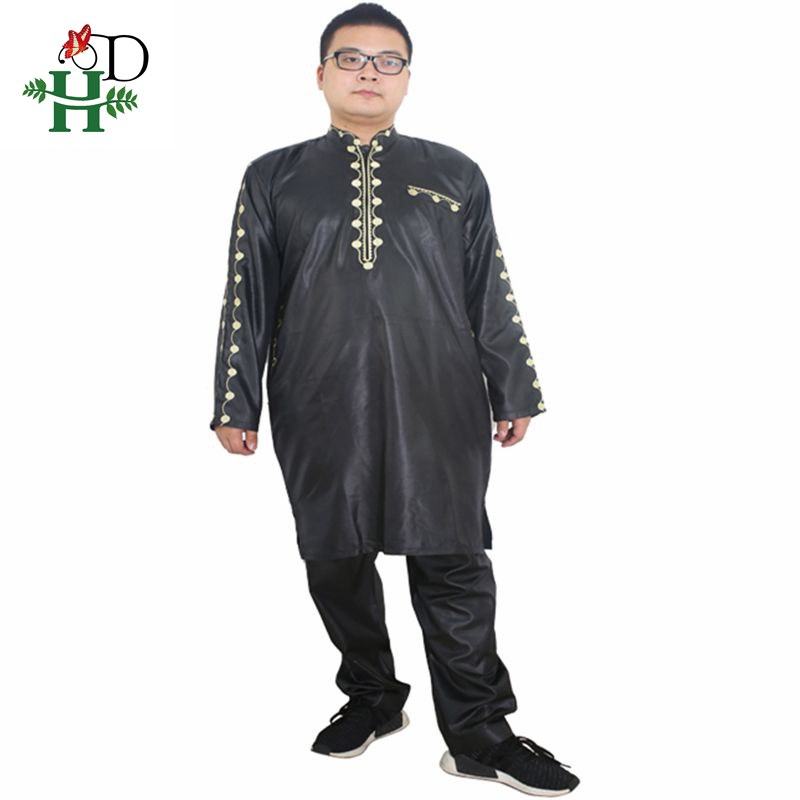 H&D African Dresses For Men Dashiki Mens African Clothing Bazin Outfit Male Tops Pant Suits 2 Pcs Long Sleeves Shirt Plus Size