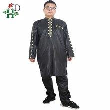 H & D אפריקאי שמלות לגברים דאשיקי mens בגדים אפריקאים bazin תלבושת זכר חולצות מכנסיים חליפות 2 pcs ארוך שרוולים חולצה בתוספת גודל