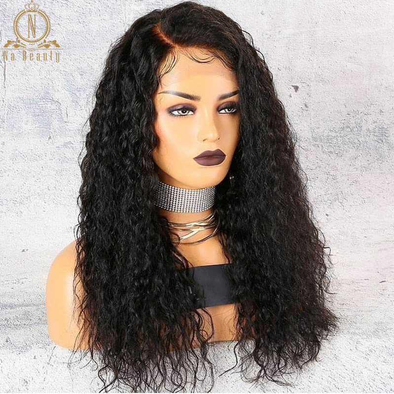 180 250 Density 13x6 Lace Curly Lace Front Human Hair Wigs For Women PrePlucked Brazilian Hair Wigs Nabeauty Hair Wig-in Human Hair Lace Wigs from Hair Extensions & Wigs