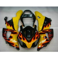 motorcycle injection molded fairings kit for YAMAHA 1998 1999 98 99 YZF R1 yellow red flame fairing parts