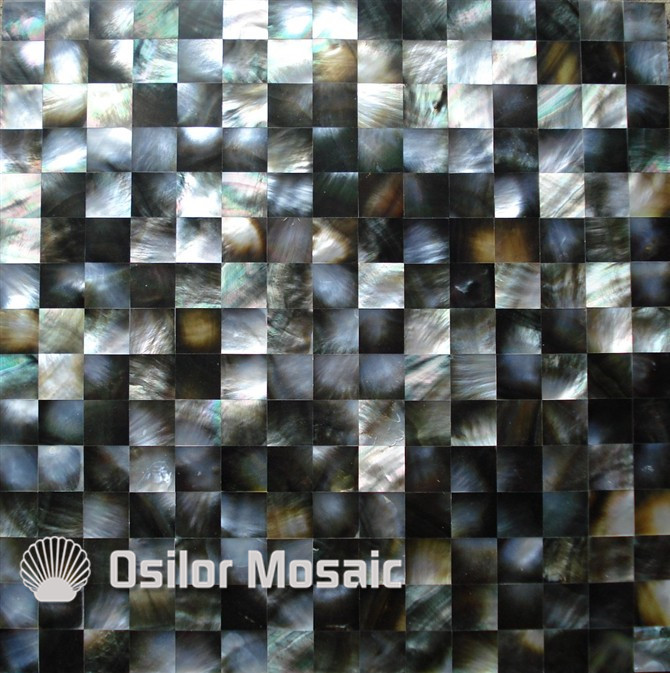 Natural black color square pattern 100% sea shell black mother of pearl tile for interior house decoration wall tile white color natural 100% capiz shell mother of pearl mosaic tile for living room or ceiling