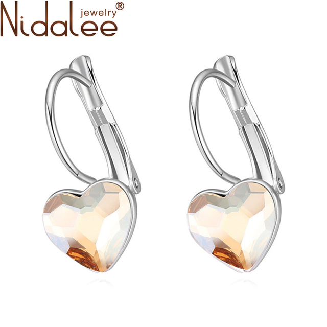 Nidalee Brand 2017 New Design Fashion Earrings For Women Heart Crystal From Swarovski Stud Earring High Quality Jewelry Gift