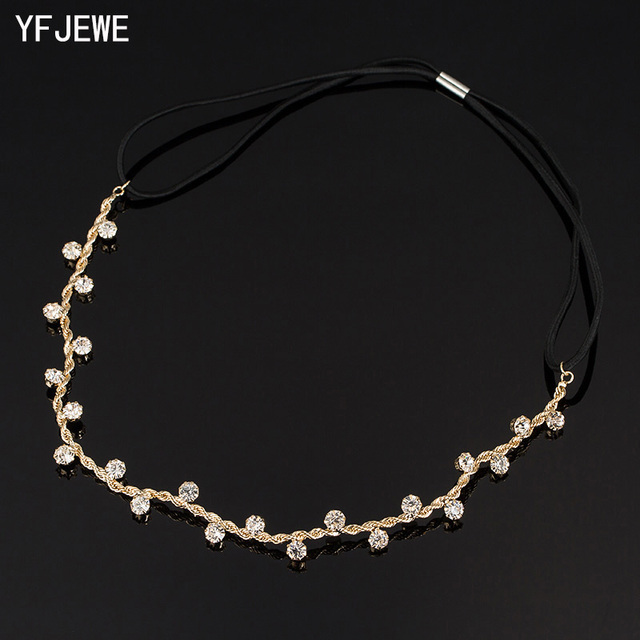 YFJEWE Free Shipping Women Hair Accessories Crystal Chain Charms Head Bands Women Jewelry Wedding Bridal Hair Jewelry H008