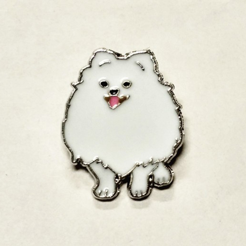 Cute Pomeranian dog brooches for women men girls silver color metal alloy pet dog male female brooch pins party clothes jewelry