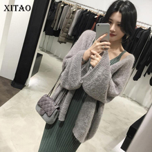 XITAO 2018 Korea Autumn Casual Women Batwing Sleeve V-Neck Knitted Tops Full Sleeve