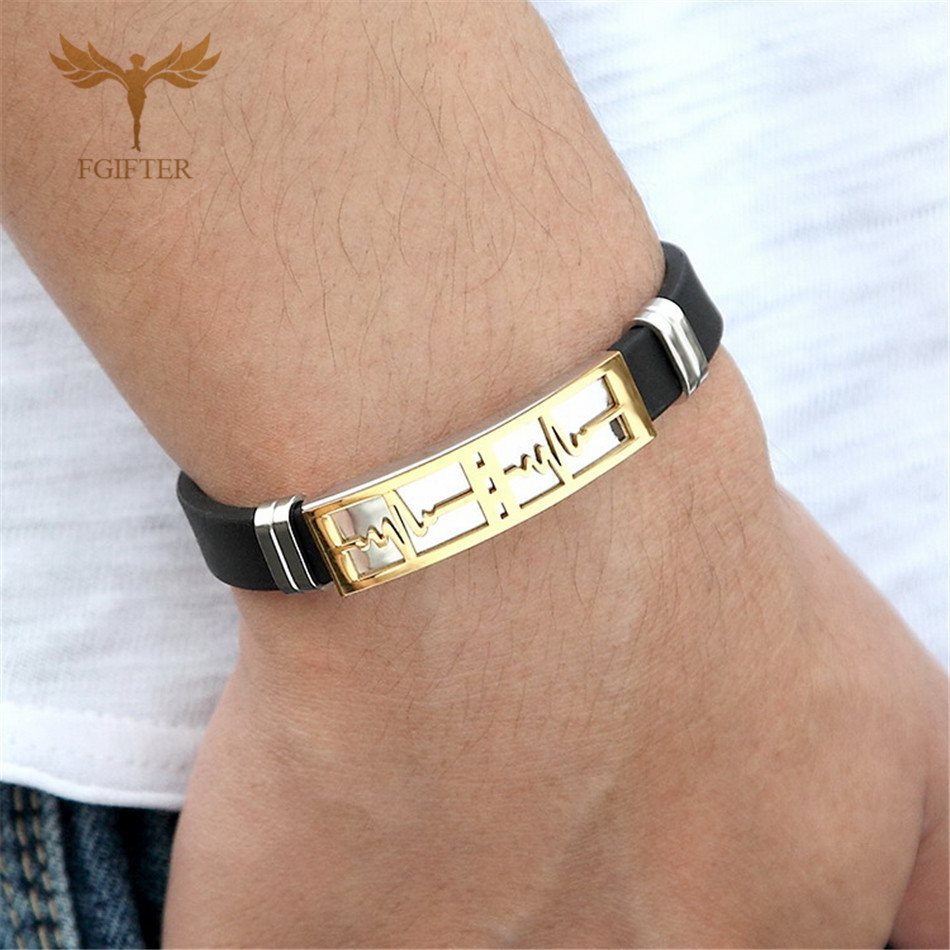 Romantic Lovers' Jewelry Gift Heartbeat ECG Design Stainless Steel Silicone Bracelets for Lovers Gold Black Women Men Accesories(China)
