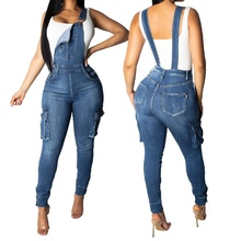Women's Fashion High Waist Sexy Skinny Casual Strap Pants with Pocket Slim Denim Jumpsuits Romper Blue Overalls for Women S-2XL trendy high waist front pocket design women s denim suspenders pants