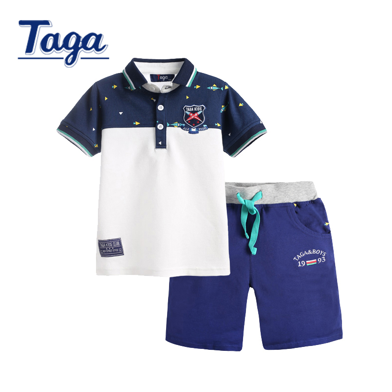 TAGA 2016 Childrens Sets Boys Outerwear boy polo shits +shorts children clothing set kids clothes Summer Short Sleeve Cotton set