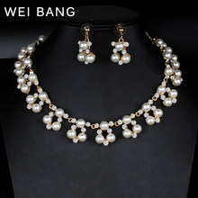 WEI BANG Women's Fashion Jewelry Pearl Earrings Gold Necklace Earrings Rhinestone Jewelry Bride Free Party Gifts dropshipping(China)