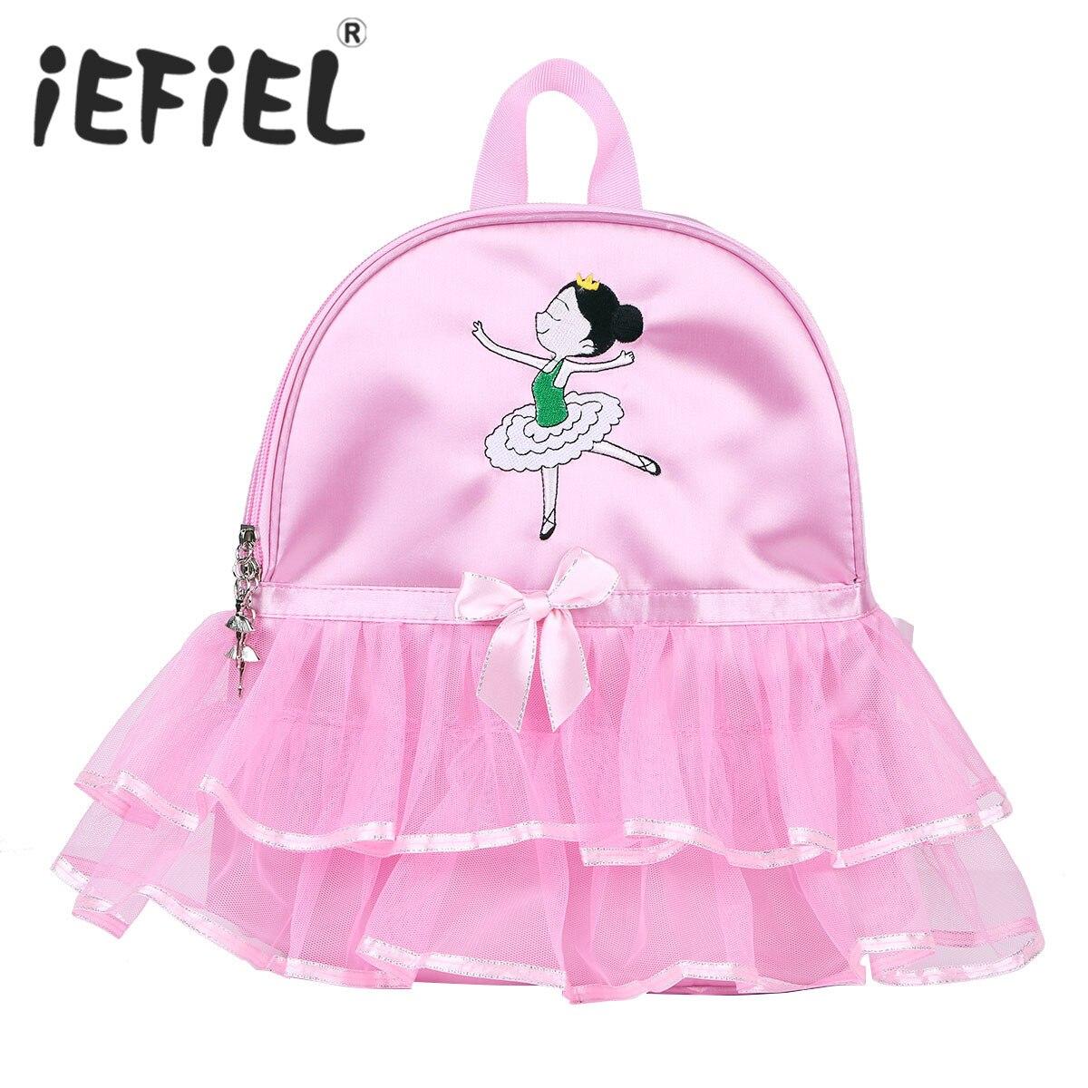 かわいい子供キッズガールバレエダンスバッグ学生スクールバックパック漫画女の子刺繍ティアードフリルチュチュショルダーバッグ