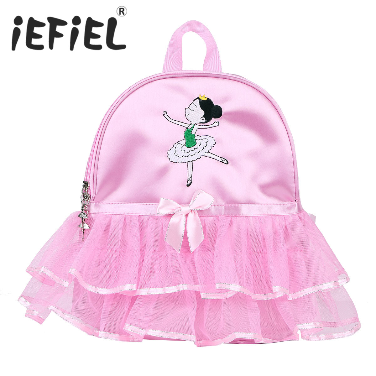 Cute Children Kids Girls Ballet Dance Bag Students School Backpack Cartoon Girls Embroidered Tiered Ruffled Tutu Shoulder Bag