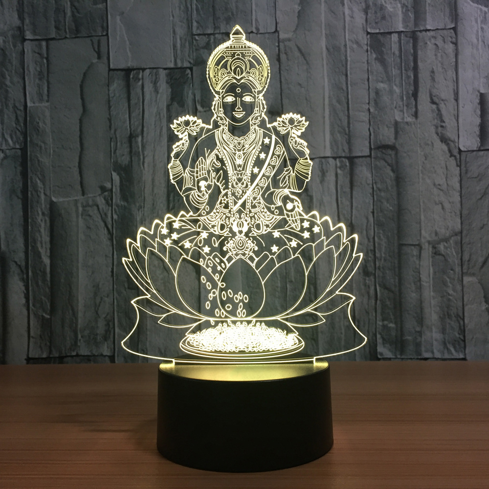 Lakshmi 7 Color Changing Lamp 3D Atmosphere Night Light LED Visual India Goddess Of Wealth Lamp Bedroom Decor Gift Light Fixture