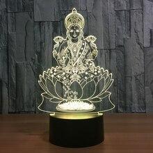 Lakshmi 7 цветов Изменение лампы 3D атмосфера ночной светодио дный светодиодный визуальный Индия богиня богатства Лампа Спальня Декор подарок светильник