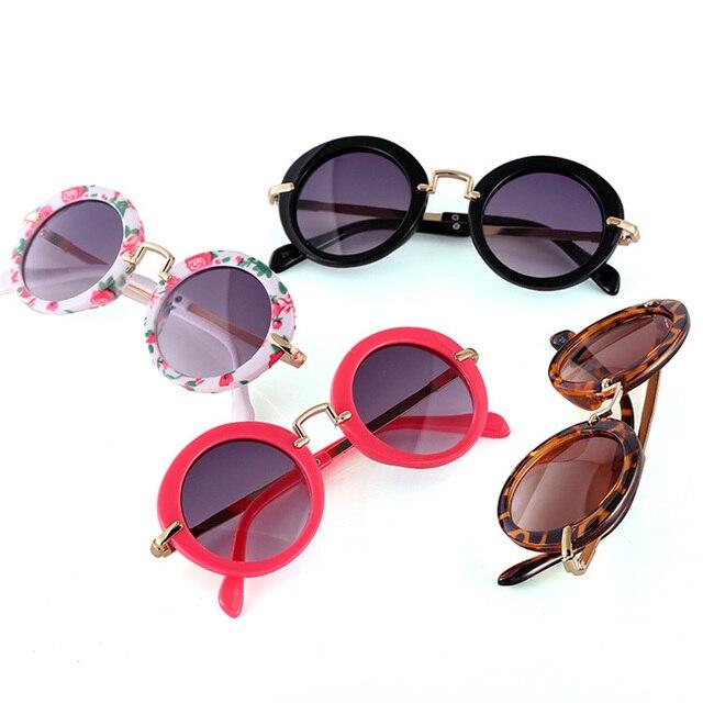 f264c7090d KLASSNUM Vintage niños gafas redondas Retro aleación niños gafas Girls  Anti-UV lente sombras para