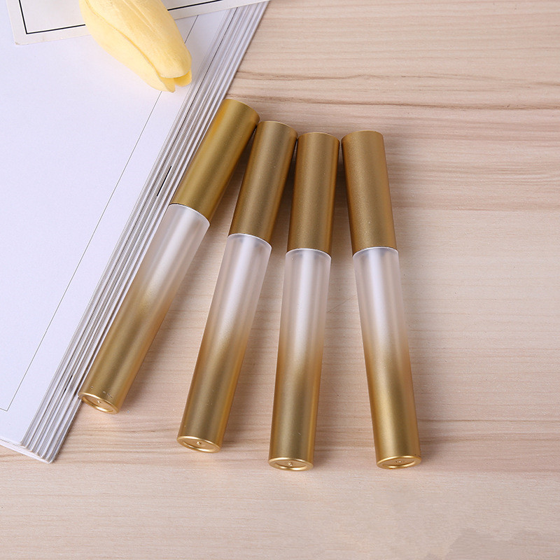 Hot Gradient Gold Empty Plastic Lip Gloss Plumper Tube Make up Liquid Eyeliner Eyelash Growth Serum Refillable Bottle 200pcs/lot