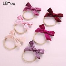 1PC Lovely Girls Velvet Bows Nylon Headbands Newborn Knotbow Elastic Hairbands Children Girl Soft Stretchy Headband