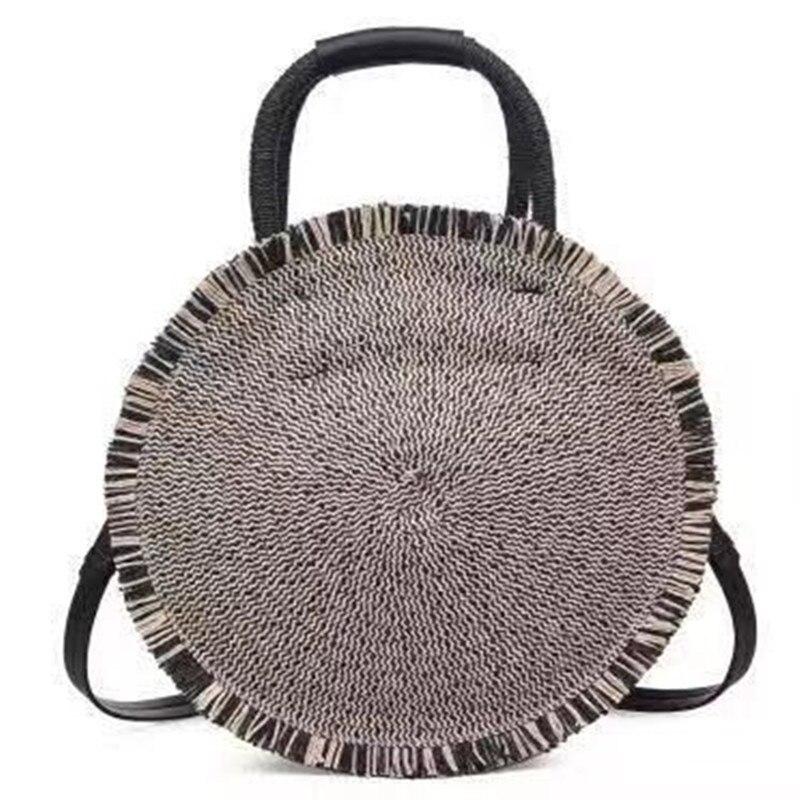 Le nouveau 2019 chaud rond gland sac de paille femmes épaule main plage Pure manuel tissage dame sac Aslant femme sac bleu noir