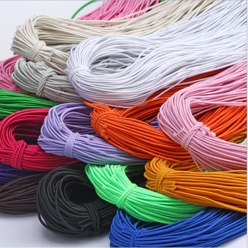 High-Quantity 20yards 1mm Colorful Round Hair Elastic Band Stretching Elastic Rope Rubber Band Elastic Line DIY Sewing Accessory
