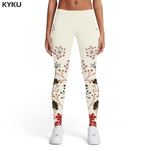 KYKU Flower Leggings Women Colorful Leggins Abstract Ladies Ink Sport Trousers Womens Pants Casual Slim Skinny Pencil