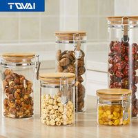 TQVAI Storage Bottles Glass Jar Sealed Cans With Bamboo Cover Large Capacity Tampion Cereals Glass Bottle
