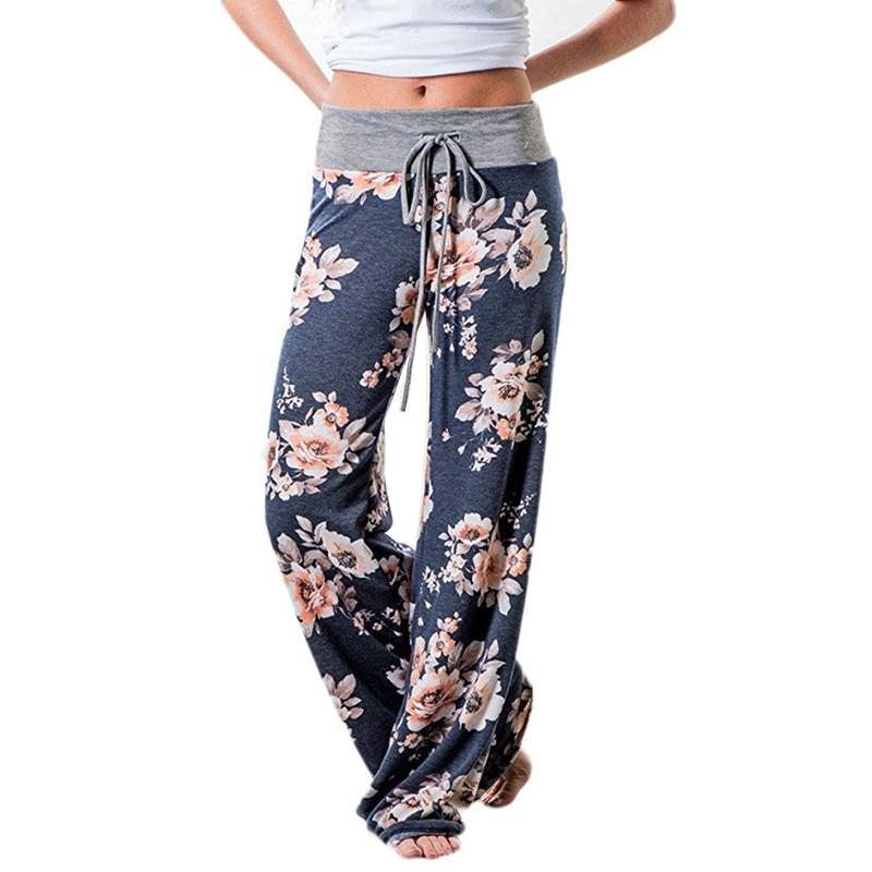 Causal Women Autumn Flower Print Pants Drawstring Wide Leg Pants Loose Straight Trousers Long Female
