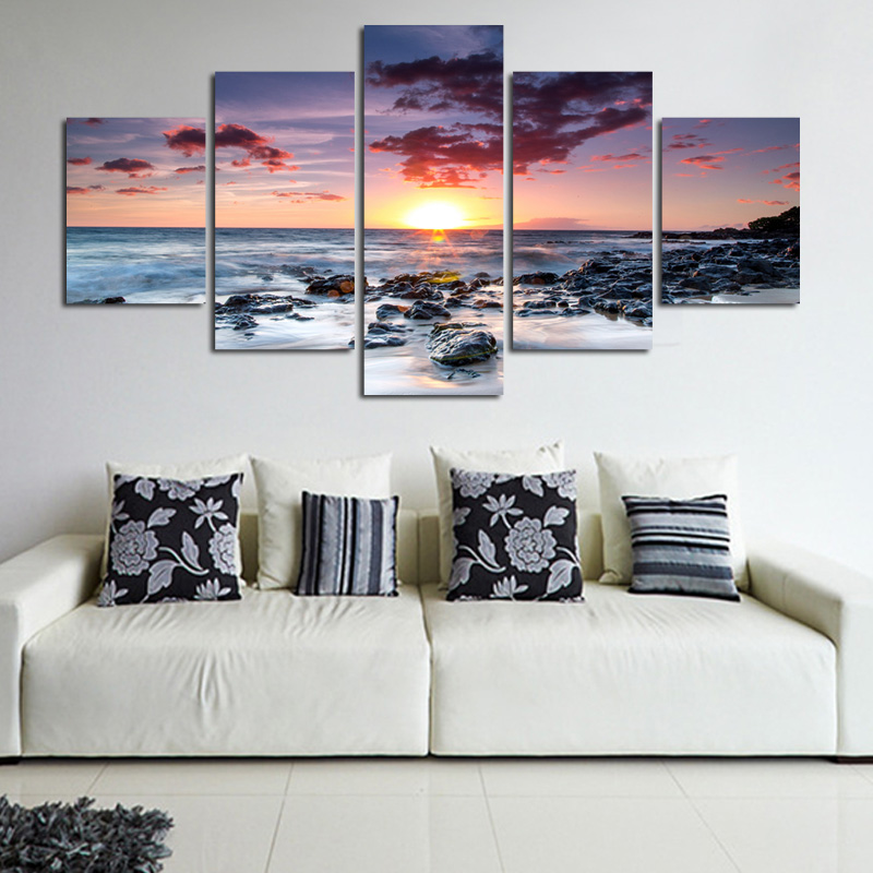 Modern Wall Art Home Decoration Printed Oil Painting 5 Piece No Frame pintura al oleo beautiful sunrise on the sea landscape