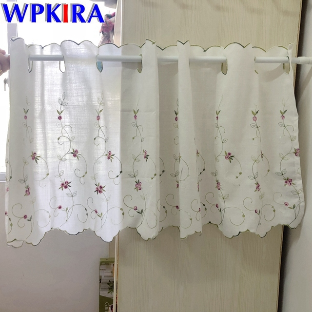 Embroidery Short Curtains Short Kitchen Door Panel Floral Curtain