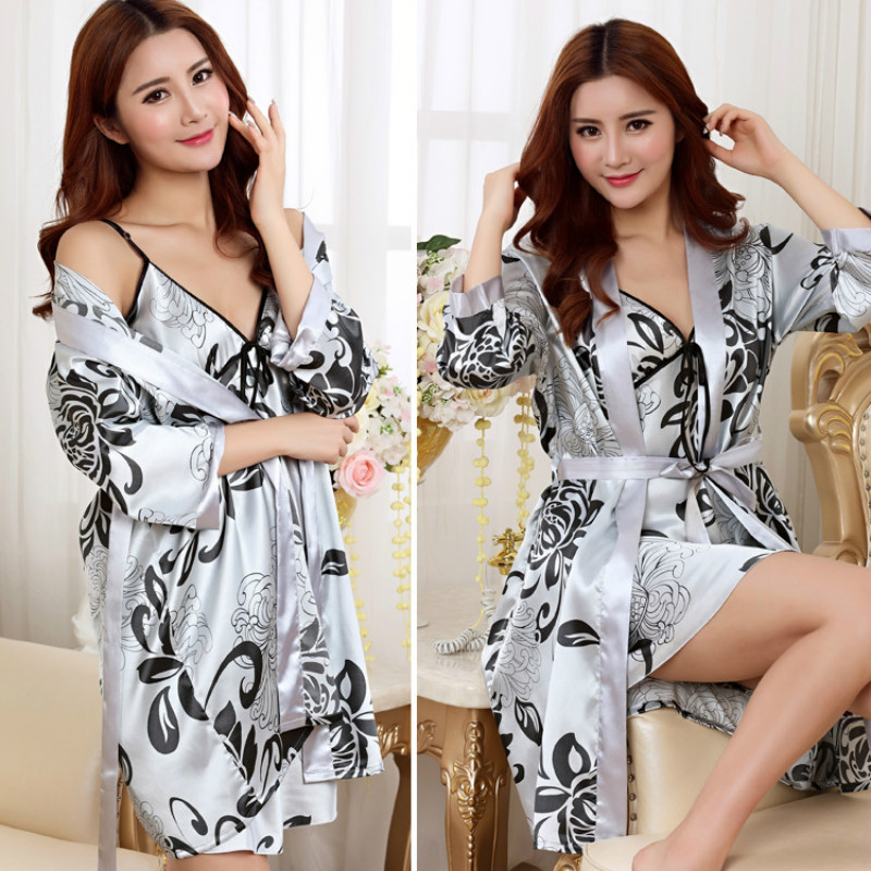 Summer Style Rayon Bathrobe Women Nightwear Sexy Sleepwear Lingerie   Sleepshirts     Nightgowns   Sleeping Dress Good Nightdress Women